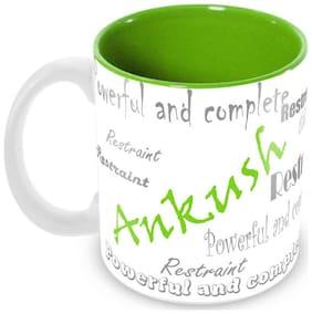 Tuelip Stylish Customize Name Ankush with Meaningful Ceramic Printed Mug Tea & Coffee 350 ml