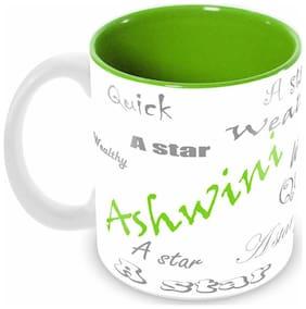 Tuelip Stylish Customize Name Ashwini with Meaningful Ceramic Printed Mug Tea & Coffee 350 ml