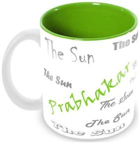 Tuelip Stylish Customize Name Prabhakar with Meaningful Ceramic Printed Mug Tea & Coffee 350 ml