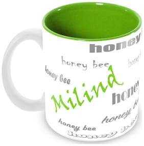 Tuelip Stylish Customize Name Milind with Meaningful Ceramic Printed Mug Tea & Coffee 350 ml