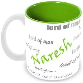 Tuelip Stylish Customize Name Naresh with Meaningful Ceramic Printed Mug Tea & Coffee 350 ml