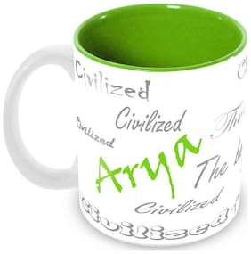 Tuelip Stylish Customize Name Arya with Meaningful Ceramic Printed Mug Tea & Coffee 350 ml
