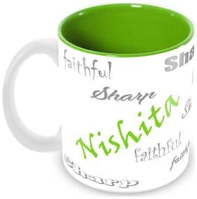 Tuelip Stylish Customize Name Nishita with Meaningful Ceramic Printed Mug Tea & Coffee 350 ml