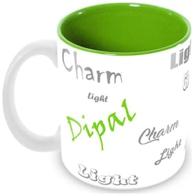 Tuelip Stylish Customize Name Dipal with Meaningful Ceramic Printed Mug Tea & Coffee 350 ml