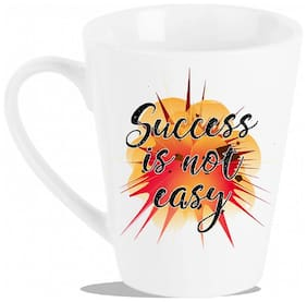 """Tuelip """" Success Is Not Easy"""" Printed for tea & coffee Conical Ceramic mug. ( 320 ml )"""