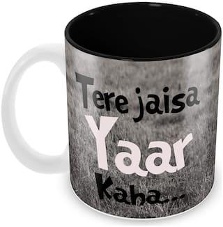 "Tuelip ""Tere Jaisa Yaar Kaha"" Quotes Best Friend Printed Mug 350 ML Ceramic Hindi Calligraphy Printed Mug"
