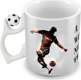 Tuelip The True Competitors;Though;Are The Ones Who Always Play To Win Rotating Football Ceramic Printed Coffee Mug 350 Ml