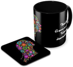 Tuelip Think Like A Queen Ceramic Printed Mug for Coffee & Tea With Tea Coaster Combo