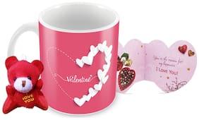 Tuelip Valentine Printed Ceramic Mug With Teddy Keychain & Greeting Card for Tea and Coffee (350 ml )-Valentine Day Gift Mug