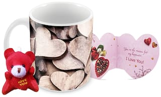 Tuelip Wooden Heart Printed Ceramic Mug With Teddy Keychain & Greeting Card for Tea and Coffee (350 ml )-Valentine Day Gift Mug