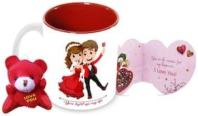 Tuelip You Light Up My Life Printed Ceramic Mug With Teddy Keychain & Greeting Card for Tea and Coffee (350 ml)-Valentine Day Gift Mug