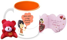 Tuelip Your Voice Is My Fev Sound Printed Ceramic Mug With Teddy Keychain & Greeting Card for Tea and Coffee (350 ml)-Valentine Day Gift Mug