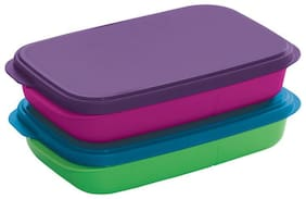 Tupperware 2 Containers Plastic Lunch Box - Multi