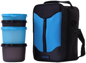 Tupperware 4 Containers Plastic Lunch Box - Blue & Black