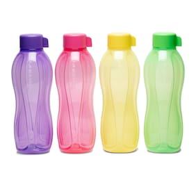 Tupperware Plastic Water Bottle Set of 4 ( Multi , 1000 ml )