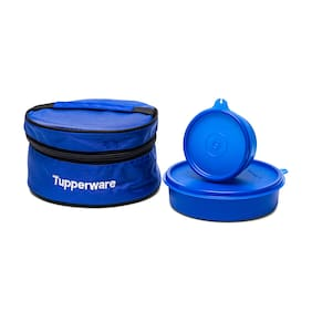 Tupperware 2 Container Plastic Lunch Bag Set of 1 ( Blue ,  700 ml )