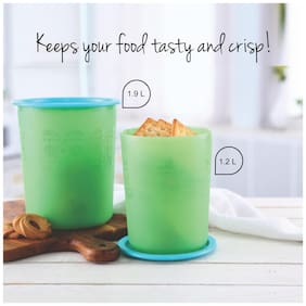 Tupperware Deco Cookie Snacks Biscuits Canister 1.2l, 1.9l 2pc