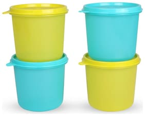 Tupperware 4 Containers Plastic Lunch Box - Blue & Yellow