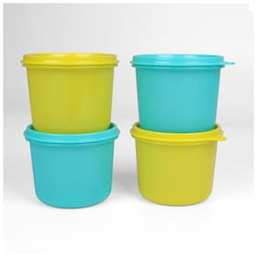 Tupperware 4 Containers Plastic Lunch Box - Blue & Green