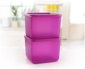 Tupperware Square Fruits Vegetables Storer Refrigerator Container Cubix 1 ltr 2pc