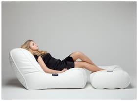 U & I Designs Bean Bag Sofa Chair Artificial Leather White