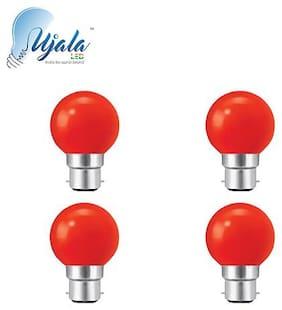 Ujala Led 0.5W , B22 Base (Aluminium), PC Diffuser, 2Year Warranty (Pack of 4)(Red)