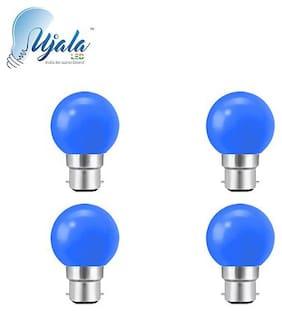 Ujala Led 0.5W , B22 Base (Aluminium), PC Diffuser, 2Year Warranty (Pack of 4)(Blue)
