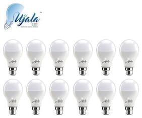 Ujala Led 9W MAX-GLOW Bulb - 100 Lumen/Watt, B22 Base (Aluminium), PC Diffuser, 2Year Warranty(Pack of 12)