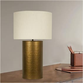 Ujjala Antique Brass Table Lamp with Fabric Shade