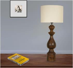 Ujjala Brown Wood Table Lamp With Fabric Shade