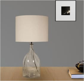 Ujjala Clear Glass Table Lamp with Fabric Shade