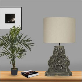 Ujjala Wood Modern Grey Table Lamp & Lampshade ( 1 Pc Lamp Base With Lampshade (bulb Not Included) )