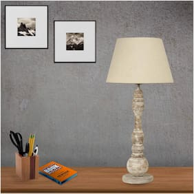 Ujjala Distressed Wood Table Lamp With Fabric Shade