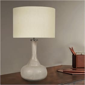 Ujjala Frosted Glass Table Lamp with Fabric Shade