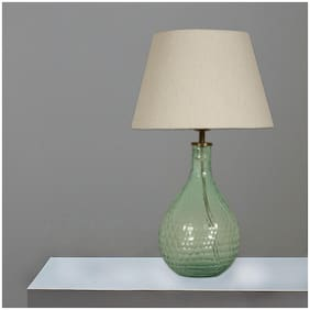 Ujjala Green Cutting Glass Table Lamp with Fabric Shade