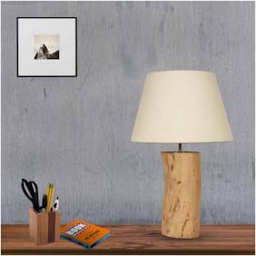 Ujjala Natural Bark Wood Table Lamp with Fabric Shade (small)