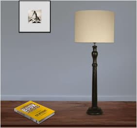 Ujjala  Wood Table Lamp With Fabric Shade