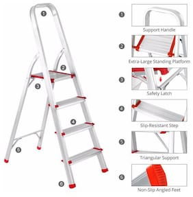 Ultra-Stable 4-Step Foldable Aluminium Ladder 55 (4.5 ft.) for Home Use