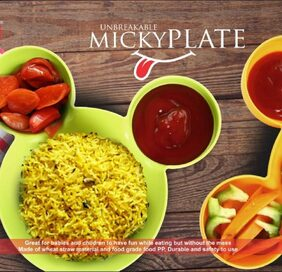 Unbreakable Mickey Shaped Kids/Snack Serving Plate (Assorted Colors)