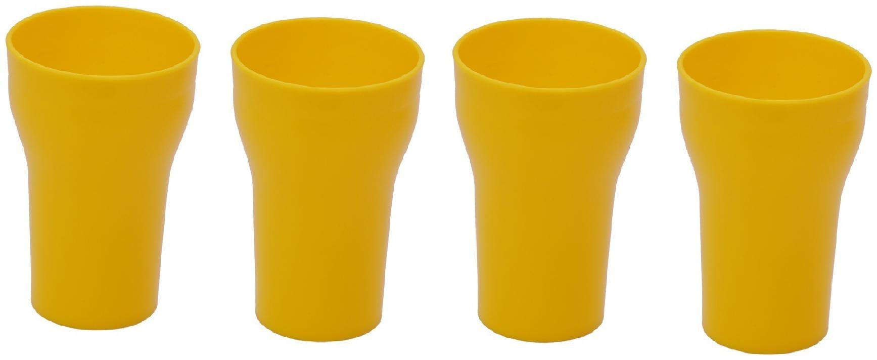 Unbreakable Multipurpose Fancy Glass Yellow 300 ml Pack of 4