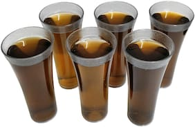Unbreakable Plastic Glass Set of 6 Pcs Polycarbonate Water Drinking/Soft Drink/Juice Glasses/Cold Coffee Glass Set (250 ML)