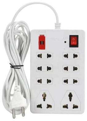 UNI Multi Pin White Extension Board ( 2.5 m , 8 Socket , 1 Switches)