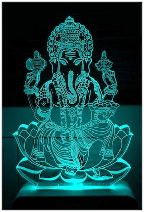Unicept The Lord Ganesh 3D Illusion Night Lamp Comes With 7  And 3D Illusion Design Suitable For Room, Drawing Room, Lobby, Temple Led Night Lamp (Small Size-10Cm, Multicolour)