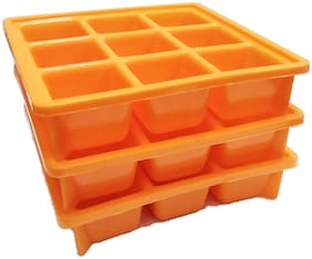 Unilite set of 3 Pcs 9 Cubes 100% BPA Free Food Grade Plastic Ice Trays for Fridge, Refrigerator