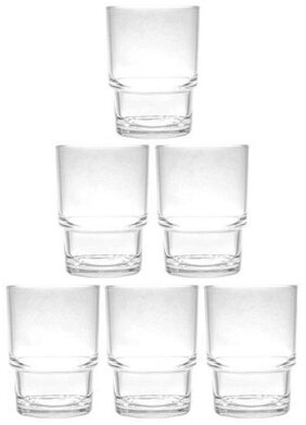 6 CLEAR DRINKING GLASSES SET