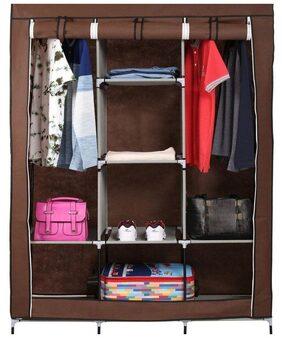 Unique Cartz 3 Door 88130 Fancy & Portable Foldable Closet Wardrobe Storage Organizer With Shelves Foe Multi purpose (Diy_Brown)