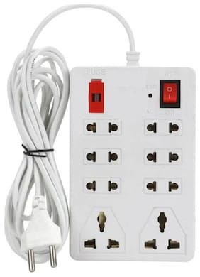 Unique Electric Board Power Strip Surge Protector Extension Cord 6 Socket Surge Protector Mini Multi Pin White Extension Board ( 1.5 m , 8 Socket , 1 Switches)