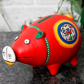 Unravel India Terracotta Red Warli Hand painted Piggy Bank