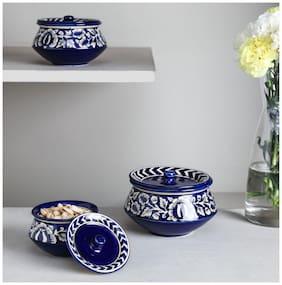 Unravel India mughal ceramic Handi set (Set of 3)