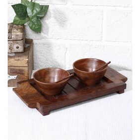 Unravel India Wooden Tray  And  Bowls Set